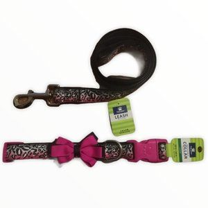 Top Paw Pink  Bow Collar Large & matching leash